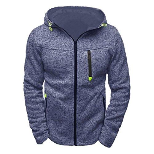 Chaqueta de hombres, Manadlian Sudaderas con capucha con capucha y cremallera para hombres Sudaderas pullover Chaqueta de abrigo (M, Azul)