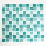 Mosaikfliesen Glasmosaik Fliesen Mosaik Küche Bad WC Wohnbereich Fliesenspiegel Quadrat Mix grün 4mm Neu #K787