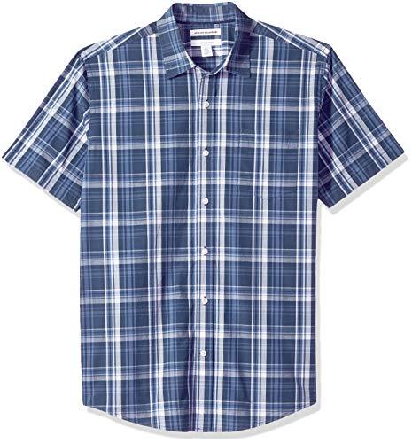 Amazon Essentials Regular-Fit Short-Sleeve Stripe Shirt Button-Down-Shirts, Navy Medium Plaid, US M (EU M)