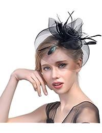 Yujeet Sombreros Y Tocados De La Manera De Las Mujeres Elegante Forma De La  Flor De La Pluma De La Novia Headwear Para El Cóctel… dbd5d0012f2