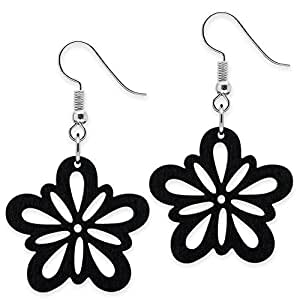 SoulCats® 1 pair of earrings flower wood black organic jewelery nature