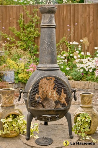 BRONZE 130CM HIGH JUMBO CAST IRON CHIMINEA CHIMENEA CHIMNEA WITH BBQ GRILL