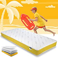 JAY-BE Simply Kids Anti-Allergy Pocket Sprung Mattress, Steel Spring with Hypoallergenic Airflow Fibre, White/Yellow, Single