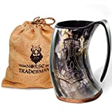 Norse Tradesman Original hecho a mano Vikingo Cuerno para beber taza w/cinta de bolsa para regalo
