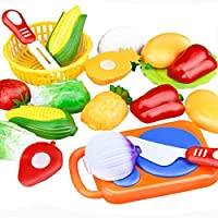 FriendGG Pretend Play Food Toys ,12PC Cutting Fruit Vegetable Pretend Play Children Kid Kitchen Cutting Chopping Plastic Food Set Educational Learning Toy Gifts for Kids Boys Girls (Plastic)