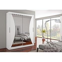 JUSTyou Charlotte Armario ropero con puertas correderas Tamaño: 215x180x58 cm Color: Blanco