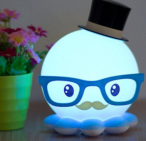 Moon mood® Reizende Cartoon Octopus Form LED Licht Schlummerleuchten für Kinder Tischleuchte und Bett Lampe mit weiches Licht (Blau Octopus)