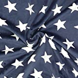 Wellness Nicki Fleece Stoff dunkelblau weiß Sterne