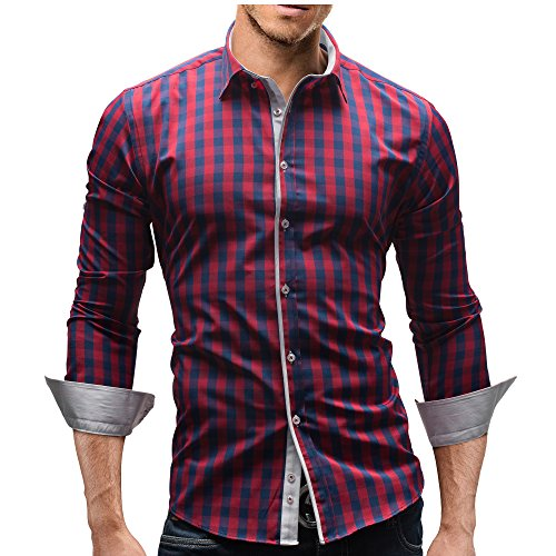 Merish Herren Hemd Herrenhemd Kariert 7 Modelle S-XXL Freizeithemd 144 Rot-Blau