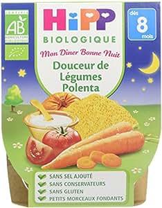 Hipp Biologique Mon Dîner Bonne Nuit Douceur de Légumes Polenta dès 8 mois - 8 bols de 190 g