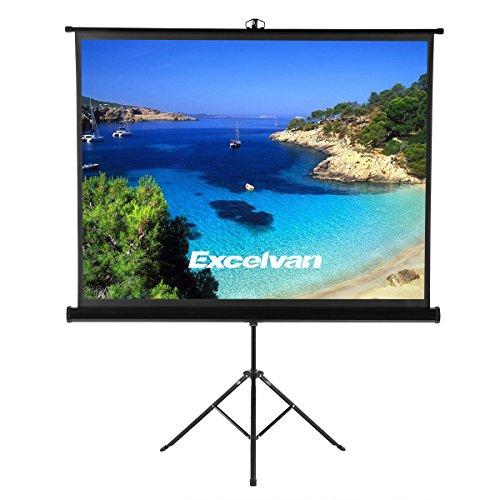Écran de Projection avec ou sans Trépied Full HD 4K 203.20x152.40cm Diagonal 100 Pouces Taille Ajustable,Format 1:1, 4:3, 16:9 Gain 1.1,Excelvan Écran de Projecteur pour Maison et Bureau, etc.