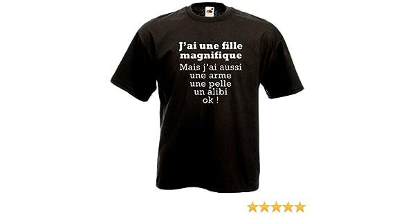8f62b28bdb0af FUNNY SHIRT Shirt Noir J Ai Une Fille Magnifique Humour Père Jaloux Jeune  Papa  Amazon.fr  Vêtements et accessoires