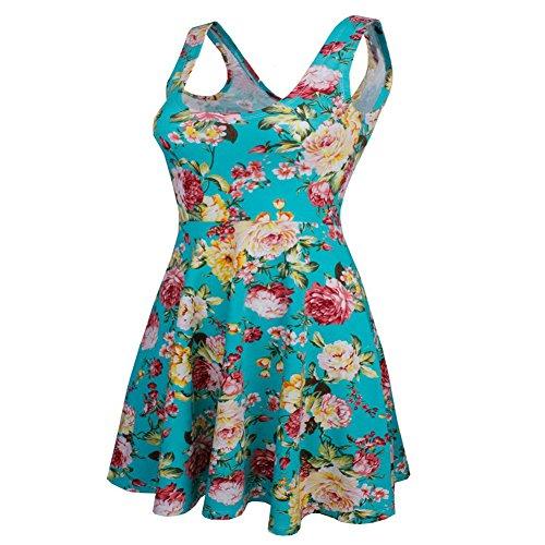 Minetom Damen Sommer Elegant Kleid Blumenmuster O-Ausschnitt Ärmellos Mini  Kleider Floral Cocktail Strand Sundress ...