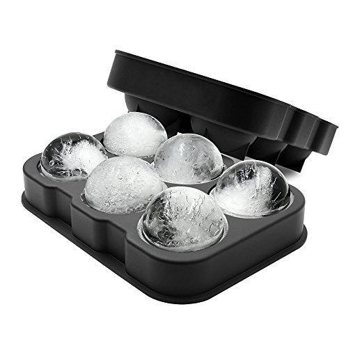XXL-Eiskugelform für 6 Eiskugeln mit 4,5 cm Durchmesser aus Silikon - Eiswürfelform, Eisform, Eiskugel, Ice Ball Mold, Silikon-Eiswürfelform, Sphere Silikon-Eis-Maker (Whisky-eis-maker)