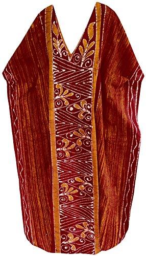 LA LEELA Frauen Damen Baumwolle Kaftan Tunika Batik Kimono freie Größe Lange Maxi Party Kleid für Loungewear Urlaub Nachtwäsche Strand jeden Tag Kleider Orange_D275 -