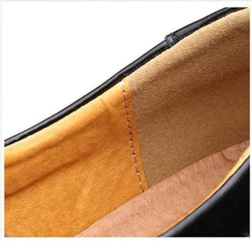 Onfly Pompa mocassino Scivolare su Casuale Pelle Scarpe Scarpe da pedale Uomini Moda Colore puro Anti scivolo Snakeskin Pattern sbalzato Britannico Scarpe pigri Scarpe a piastre Scarpe da guida Dimens White