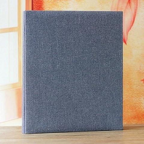 LJ&L Leinen Material Rahmen Abdeckung Do-It-Yourself Handbuch Fotoalbum, Selbstklebendes Fotobuch, Geburtstag Hochzeitstag Geschenk, Blau