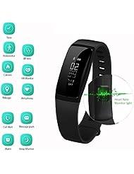 ROGUCI Bluetooth Fitness Tracker,Kalorienanzeige Schlafmodus & Sportmodus Sport Aktivitätstracker Armband mit USB-Stick Touch-Screen-Pedometer ,Schlaf-Monitor Aktivitätsmonitor mit Anrufer-ID & SMS-Nachrichten Push-Benachrichtigungen für iPhone IOS 8.0 Android 4.3 Handys Smartphones