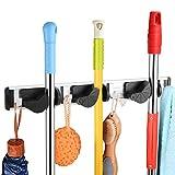 Mopp und Besen Halter Wand montiert Rack Kleiderbügel Kehrbürste Organizer mit für Schrank Rechen Garten Sportgeräte Garage Lagerung für Regale(3 Position 4 Hooks)