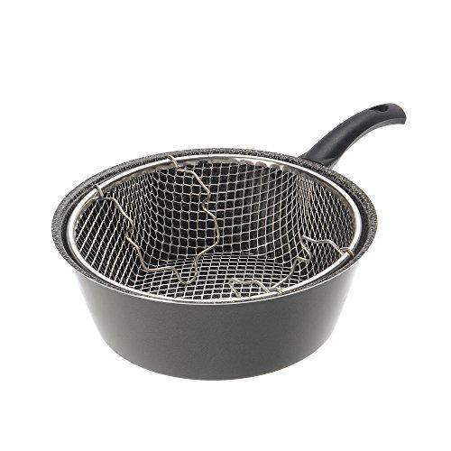 Alluflon Tradizione Italia Freidora con cesta, aluminio, negro, 24cm