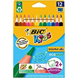 BIC Kids Evolution Triangle ECOlutions Crayons de Couleurs Triangulaires - Couleurs Assorties, Etui Carton de 12