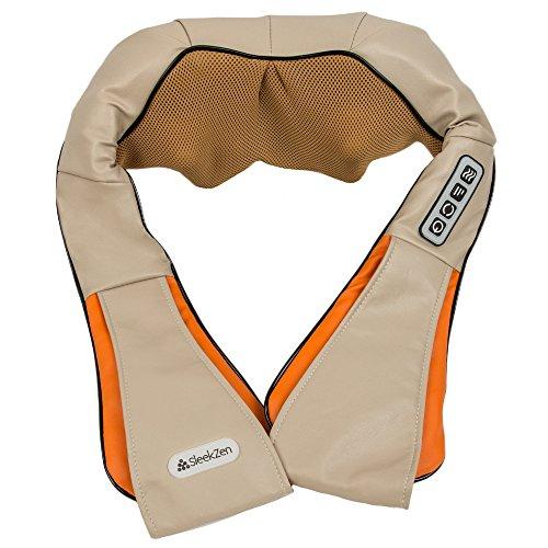 SleekZen Nacken & Schulter Massagegerät Orange - mit Wärmefunktion, Nackenmassagegerät Shiatsu Elektrisch Massager mit 3 Einstellbaren Geschwindigkeiten Muskel Schmerzlinderung Nacken Massagekissen
