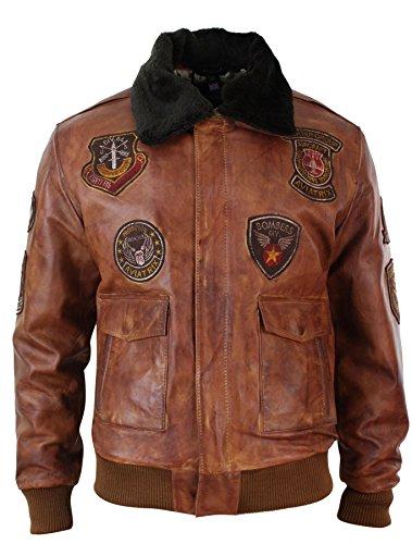 Blouson homme aviateur bomber pilote style vintage cuir vieilli marron clair avec col fourrure