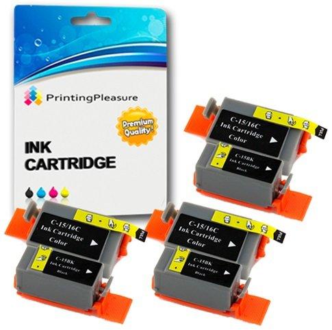 6 Compatibles Canon BCI-15/16 Cartouches d'encre pour Pixma IP90 i70 i80 Selphy DS700 DS810 MINI220 - Noir/Couleur, Grande Capacité