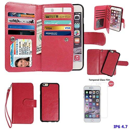 Custodia per iPhone 6/6S, xhorizon Custodia Portafoglio Borsetta a Polso in Pelle di Alta Qualità Magnetica Staccabile Rimovibile con Tasche per Carte per iPhone 6 6S [4.7] Rosso +9H vetro temperato Film