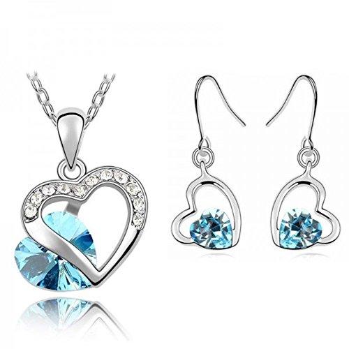 Parure coeur cristal swarovski elements plaqué or blanc Bleu turquoise