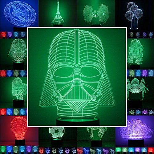 3D Lampe 3D Leuchte 3D LED Stimmungslicht. 7 Farben - Auswahl aus 81 verschiedenen Motiven,hier Darth Vader ca.21x15cm inkl. Sockel - 3D Illusion Dekolicht mit USB Anschluß und 220V USB Netzteil