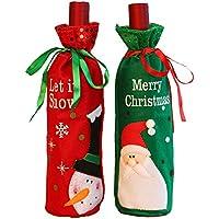 2 piezas de Santa Claus botella de vino cubierta bolsas de vino tinto con bonita corbata bolsas de regalo de navidad conjunto - Santa y muñeco de nieve decoración de la mesa de cocina del hotel del pa
