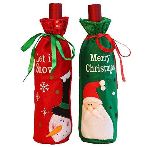 2 piezas Santa Claus botella vino cubierta bolsas