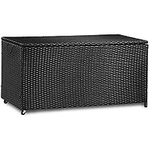 Merax Kissenbox Aus Wasserdicht Polyrattan Auflagenbox Gartenbox Gartentruhe Aufbewahrungsbox Sitzbank L 118 Cm
