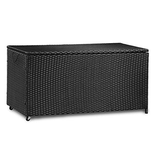 Merax Kissenbox aus Wasserdicht Polyrattan, Auflagenbox Gartenbox Gartentruhe Aufbewahrungsbox, Sitzbank, L 118 cm x B 59 cm x H 54 cm, 320 L (Schwarz)