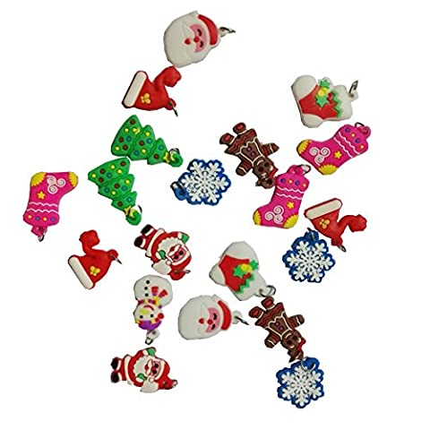 DIY Bracelet Necklace Charms Pendant Silicone Rubber Set of 20 - All Christmas Figures