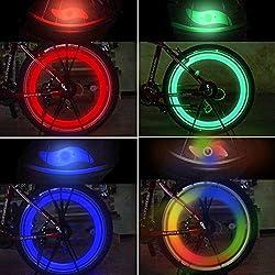 TAGVO 4pcs luz de radios de bicicleta, fácil instalación luces de radios de rueda para adultos, niños bicicleta, lámpara de flash de neón de LED de neón resistente al agua con 3 modelos intermitentes