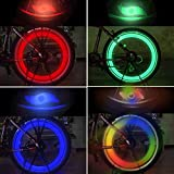 TAGVO 4pcs Bike Spoke Light (Red + Green + Blue + Multicolour), Easy Installing Wheel Spoke Lights for Both Adults Kids Bike, Water Resistant LED Neon Tire Flash Lamp with 3 Flashing Models