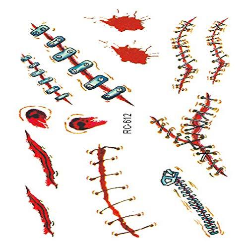 adgkitb Halloween Requisiten Atmosphäre Horror Tattoo Aufkleber Verwundete realistische Blutnarben Tattoo Tattoo 36 10,5x6cm