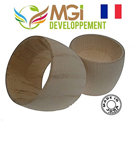 Artisanat francais traditionnel, Lot de 6 ronds de serviette en bois brut made in jura (à personnaliser vous-même)