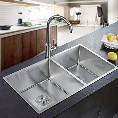 Auralum 80×45×22cm Küchenspüle Waschbecken Spülbecken Handwaschbecken aus Gebürstetem Edelstahl 2 Becken Einbauspüle