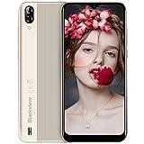 Blackview A60 (2019) Téléphone Portable Pas Cher Écran 6.1 Pouces 4080mAh Batterie Double Cameras 13MP+5MP Dual Nano-SIM Capacite 16Go (Extensible à 128Go) Android 3G Smartphone débloqué (Or Platine)