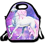Neoprene Lunch Tote - Unicorn Horse Insulated Waterproof Reusable Lunch Bags Boxes For Men Women Adults Kids Toddler Nurses With Rope Belt Stylish Adjustable Shoulder Strap - Best Travel Bag