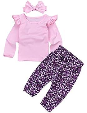 Baby 3 Stücke Outfits, Janly Niedlich Kleinkind Plain Rüschen Tops Shirt Floral Hosen Großen Bogen Stirnbänder...