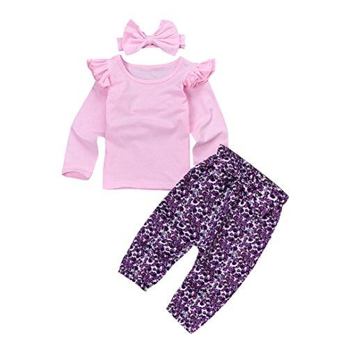 Baby 3 Stücke Outfits, Janly Niedlich Kleinkind Plain Rüschen Tops Shirt Floral Hosen Großen Bogen Stirnbänder für 6-24 Monate Mädchen (Alter: 0-6 Monate, Rosa)