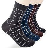 Ariatoe Mens 4 Pairs Luxury Colorful Stripe Design Cotton Crew Socks Size 7 to 11 (MENS-Grid Stripes)