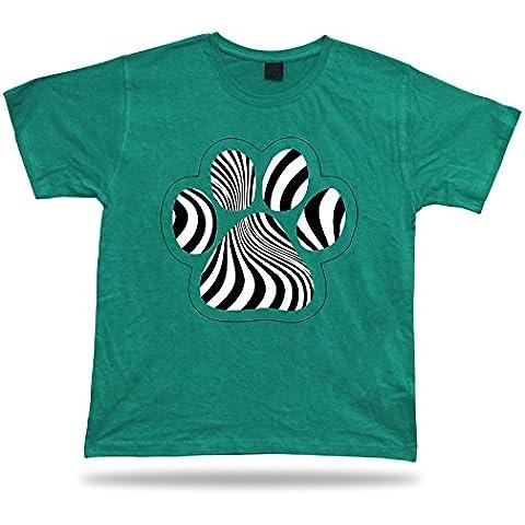 DOG STAMPA motivo zebrato zampa simpatici animali cucciolo pantaloni a vita bassa tshirt divertente regalo sprcial - Green Zebra Animal Print