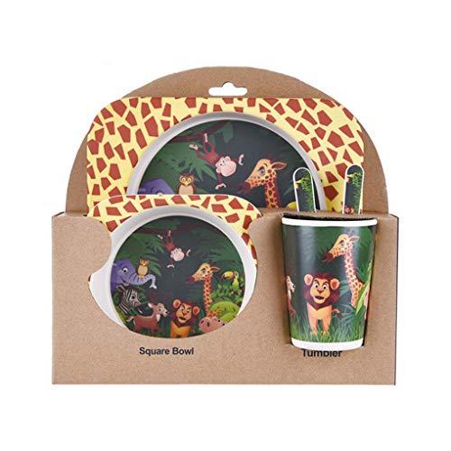 Lidahaotin Kinder-Geschirr-Set 5er Baby-Bambusfaser-Cartoon Bowl Tier Geschirr Set Kleinkind-Cup-Löffel-Gabel #8 Gabel Cup Set