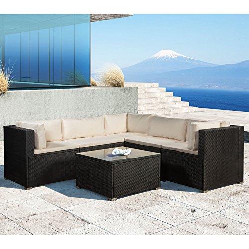 Polyrattan Gartenmöbel Lounge Sitzgruppe Nassau mit Bezügen in Creme
