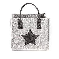 GWELL Filztasche Einkaufstasche Stoff Shopper Bag Henkeltasche Einkaufskorb Aufbewahrung Kaminholztasche grau S